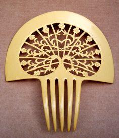 Art Deco hair comb Spanish mantilla French ivory hair accessory, hair jewelry…