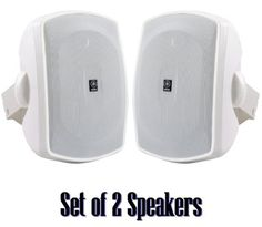 Yamaha All Weather Outdoor / Indoor Wall Mountable Natural Sound 120 watt 2 way Acoustic Suspension Speakers - Set of 2 - White - Compatible with All Audio / Video Home Theater Sound Systems, Components, CD Players, or Receivers by Yamaha. $74.95. Outdoor Speaker System Features High Power Handling and Durable All-Weather DesignRecommended use for Indoor / Outdoor Front / Surround SpeakersNew Natural Sound All-Weather Speaker System Type : 2-way acoustic suspensi...