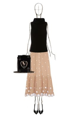 Nude and Black by katsin90 on Polyvore featuring polyvore, fashion, style, Exclusive for Intermix, Miguelina, Yves Saint Laurent, Chanel and clothing