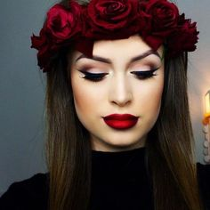 Red Roses Crown and a Red Lips