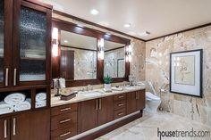 Custom double vanity provides plenty of storage
