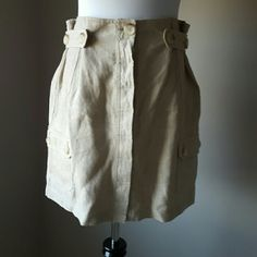 Michael Kors 100% linen skirt. Built in belt at waistlinel ike new. Michael Kors Skirts Mini