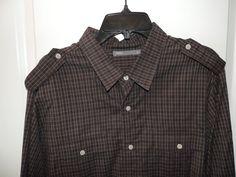 Vince Mens Brown Plaid 2 Pocket Military Style 100% Cotton Shirt SZ XL Mint  #Vince #ButtonFront
