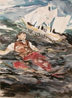 Hernan Bas paintings allude to classic Romanticism, a Baroque world in which boys drift in a uncertain world of literary proportions
