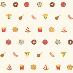 'Junk Food' is a design from our range of patterned gift wrap sheets illustrated by All The Fruits. #junkfood #burger #chips #doughnut #fizzydrink #illustration #graphic #pattern #hotdog #pizza #waffle #bold #vibrant #playful #fun by evermadeuk You can follow me at @JayneKitsch