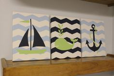This would be so cute for nautical themed nursery and goes with colors we already have for bedding!