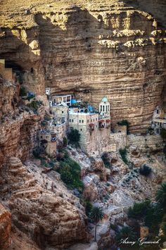 St. George Orthodox Monastery, or Monastery of St. George of Koziba is a monastery located in Wadi Qelt, in the eastern West Bank, . The sixth-century cliff-hanging complex, with its ancient chapel and gardens, is active and inhabited by Greek Orthodox monks. It is reached by a pedestrian bridge across the Wadi Qelt, which many imagine to be Psalm 23's Valley of the Shadow.