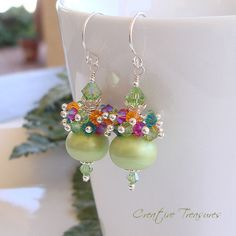 TROPICANA - Artisan Handmade Lampwork Earrings with Swarovski Cyrstals and Sterling Silver by ctbydonna