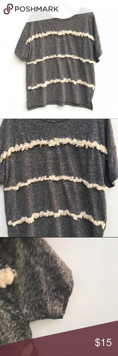 Gray Ruffled Top Shirtsleeve gray t-shirt with cream colored ruffles down the front. Burnout style. Old Navy Tops Tees - Short Sleeve