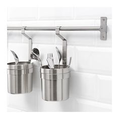 IKEA GRUNDTAL rail Saves space on the worktop. Can also be used as a towel rail or a pot lid rack. Lots of accessories available