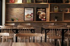 Burger King Garden Grill by Out of Stock, Singapore store design Restaurant Interior Design, Cafe Interior, Restaurant Exterior, Buger King, Cafe Concept, Brick Accent Walls, Ikea, Burger Restaurant, Cool Cafe