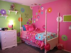 little girl bedrooms ideas pink and green | pink and green little