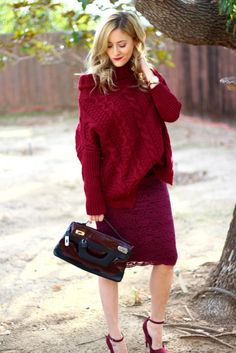 52979df20ce09 Burgundy Monochromatic Outfit Chunky Sweater Lace Skirt Ankle Straps
