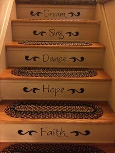 Happy words stair riser decals