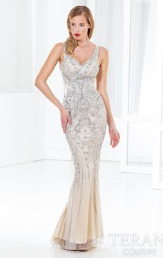 Beaded V Neckline Gown Terani GL3906 by Terani Couture Evening