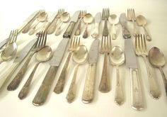 New to LaurasLastDitch on Etsy: Mismatched Flatware Set Tarnished Silverplate Silverware Basic Service for 4 6 or 8 or single place settings (9.99 USD)
