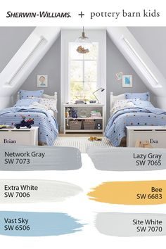 Give your kids' bedroom colorful personality with paint from Sherwin-Williams. The @potterybarnkids Spring/Summer 2020 palette features hues that kids, and kids at heart, are sure to love. Tap this pin to explore them all. #sherwinwilliams #potterybarn #potterybarnkids #pbkids #kidsroom #decor #design #paintinspo #diy Pottery Barn Colors, Pottery Barn Paint, Pottery Barn Bedrooms, Pottery Barn Kids, Kids Room Paint, Room Paint Colors, Paint Colors For Home, Wall Colors, Bedroom Themes