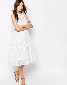 Платье миди с вышивкой ришелье French Connection Clementine