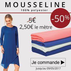 *** 7 Jours - 1 Prix - 1 Produit *** Profitez-de notre promo aujourd'hui à -50% sur des jolies Mousseline de polyester unies à 2.50€ le mètre au lieu de 5€!