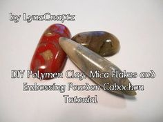 DIY Polymer Clay, Mica Flakes, Embossing Powder CabochonTutorial - YouTube