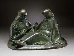 Ernst Barlach (Germany, Wedel, Holstein, 1870 - 1938)  Russian Lovers, 1908  Sculpture, Bronze, 10 x 15 in. (25.4 x 38.1 cm)  Gift of Walter Stein (54.134.4)  Modern Art Department.