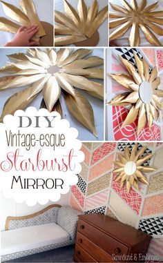DIY Vintage-esque Starburst Mirror Tutorial {Sawdust & Embryos} with cardstock! Handmade Home Decor, Vintage Home Decor, Diy Home Decor, Room Decor, Diy Wand, Diy Deco Rangement, Starburst Mirror, Do It Yourself Inspiration, Diy Décoration