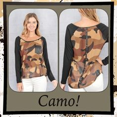 Camo! Camo! Brown & Tan Camo Top Camo! Camo! Browns, Tans, & Black Camo. Top had Camo print & look @ the Back. Has a black strip down middle of back w/small snaps. Had black sleeves. Comes to hips. Have small-medium left. large/SOLD. Made USA Cute w/black jeans & leggings. D0 Tops