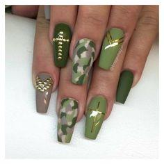 67 Mejores Imágenes De Uñas Color Verde Militar Camouflage Nails