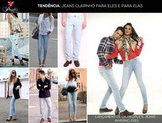 Os jeans de lavagem clarinha também estarão em alta no inverno 2013 tanto para homens quanto para mulheres. Para aderir a esse estilo, a ideia é combinar com cores mais escuras ou estampas. Sobreposições também são bem vindas! Veja algumas dos looks que andam circulando por aí e confira dois dos lançamentos da People's Jeans para a estação!