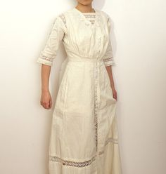 Edwardian Cotton Dress with Pale Yellow Stripes and Crochet Lace 1911 by dolymaedesigns