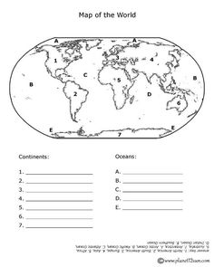 Blank Continents And Oceans Worksheets | Continents and Oceans Quiz ...