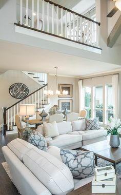 Cozy Living Room For Your Home - Living Room Design Coastal Living Rooms, Living Room Modern, Home Living Room, Living Room Designs, Living Room Decor, Living Room With Stairs, Living Spaces, Dining Room, Interior Design Minimalist