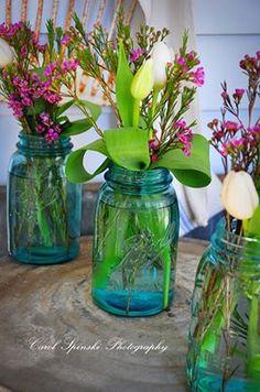 Casual Flowers in Mason Jars