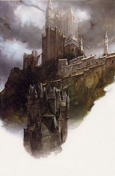 And then there was that hulking tower set out across from the bottomless chasm that towered far above the clouds and dense sea of fog. (Goes with last pinned picture of city and the cliff) - Illustrations by John Howe
