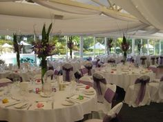 Reception at Joondalup Resort in Perth Western Australia. The marquee overlooks the resort pool and guests have their canapes on the steps near the pool.