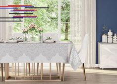 Toalha de Mesa Quadrada Karsten Sempre Limpa Estampa Cecile - Viva Decora Toalha de Mesa Quadrada Karsten Sempre Limpa Estampa Cecile Valance Curtains, Entryway Tables, Divider, Hairstyle, Nail, Room, Furniture, Home Decor, Towels