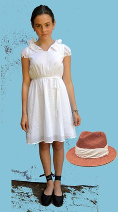 5th grade graduation ready in our Girls Panama Hat, Rose & Alyce Dot with our Cecelia dress