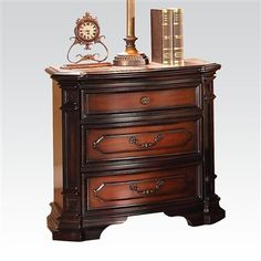 Le Havre Collection Night Stand Three Drawers Two tone Brown Finish