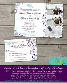 Purple & Teal Photo Wedding Invitation Flourish Swirls Response - DIGITAL PRINTABLE - Pink,  Black, Shower  Rehearsal