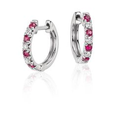 Blue Nile Petite Ruby and Diamond Pave Huggie Hoop Earring (30.110 RUB) ❤ liked on Polyvore featuring jewelry, earrings, blue nile, ruby earrings, pave diamond hoop earrings, pave diamond earrings and blue nile earrings