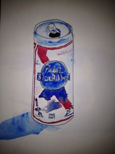 Beer. Watercolor I did of my favorite kind of PBR.