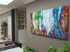 Tantra - groot abstract kleurrijk schilderij 180 x 100 x 4,5 cm
