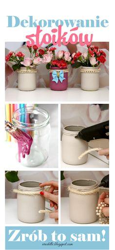 Bardzo prosta dekoracja z użyciem słoików - Jak malować i ozdabiać   Diy painted jars   Słoiki ozdobne