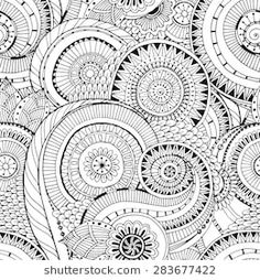 Seamless Black And White Pattern With Flowers Ornate Zentangle Texturewith Abstract