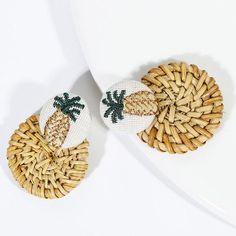 AENSOA Multiple 2019 Korea Handmade Bamboo Braid Pendent Drop Earrings New Fashion Rattan Vine Knit Long Earrings For Women Girl Pink Earrings, Gold Drop Earrings, Wooden Earrings, Earrings Handmade, New Fashion Earrings, Fashion Jewelry, Pineapple Earrings, Trendy Jewelry, Boutique