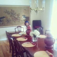 That is my 7 year old daughter setting our dining room table for 16 for a dinner party we were hosting. I think it is so important to include your children and teach them how to make your house pretty, how to set a table, how to cook, tell the stories of your china/glasses/silver and which family member it came from.....teach them to be inspired!   #coastallifestyledesign #cldtippoftheday