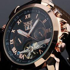 Men's Elegant Black Auto Mechanical Date Tourbillon Mens Wrist Watch //Price: $ & FREE Shipping // #hashtag4