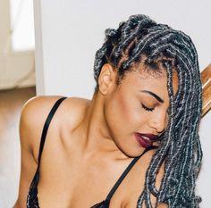 silver dread locs | grey yarn dreads | black girl in colorful hair | inspiration