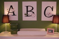 baby-nursery-delightful-baby-boy-changing-pad-with-nice-small-red-cone-lampshade-and-letter-ornament-on-the-green-walls-delightful-boy-baby-...