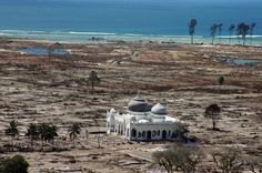 (1 of 2) A file photo taken with a telephoto lens on January 16, 2005 of a partly damaged mosque in the Lampuuk coastal district of Banda Aceh where surrounding houses were wiped out in the aftermath of the massive December 26, 2004 tsunami. #